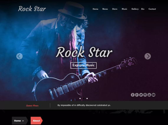 Rock star free theme wordpress